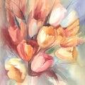 Color tulips bouquet watercolor