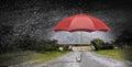 Color umbrella in sky . Mixed media Royalty Free Stock Photo