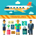 Color vector flat icon set and illustrations travel by plane Royalty Free Stock Photo