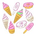 Color vector illustration. Set of cupcake, ice cream in a horn, popsicle and donut. Elements are drawn by hand