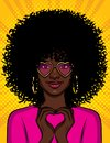 Color vector pop art style illustration of a beautiful african american girl showing with her hands a heart shape. A young woman w