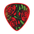 Color vector template for design plectrum with rose and leaves