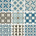 3 color vector tile pattern blue gray black Moroccan ornament set seamless