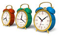 Color vintage alarm clocks Royalty Free Stock Photos