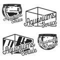 Color vintage aquariums service emblems