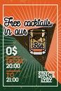 Color vintage bar banner