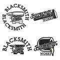 Color vintage blacksmith emblems