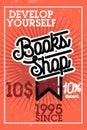 Color vintage books shop banner