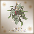 Color vintage Christmas card with mistletoe branch decorations.