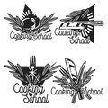 Color vintage cooking school emblems