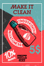 Color vintage household chemicals banner
