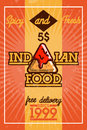 Color vintage indian food banner