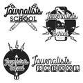 Color vintage journalists school emblems