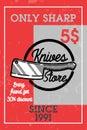 Color vintage knives store banner