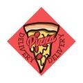 Color vintage pizza delivery emblem