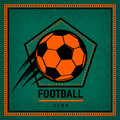 Color vintage and retro logo badge, label football club template with flying soccer ball. Royalty Free Stock Photo