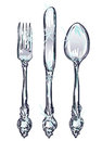 Color vintage silverware drawn with illustrator s brushes Stock Photo