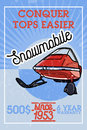 Color vintage snowmobile banner