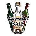 Color vintage supermarket sale emblem