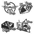 Color vintage toys shop emblems