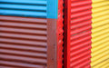 Color wall of the house from iron sheets caminito old historical area and street in buenos aires interesting architecture Stock Photos