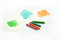 Color wax pastel crayon on white papers Royalty Free Stock Images
