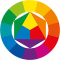 Color wheel circle abstract illustrative organization of colors around a circle shows the relationships between primary Stock Photo