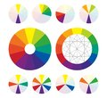 Color wheel, types of color complementary schemes Royalty Free Stock Photo