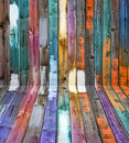 Color wood panels perspective Royalty Free Stock Photo