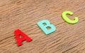 Color wooden alphabet letter