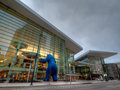 Colorado convention center denver january at blue hour Stock Images