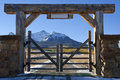 Colorado ranch with wooden gate Royalty Free Stock Images