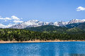 Colorado rocky mountainlake a lake and pine trees in the mountains with blue sky and clouds Stock Image