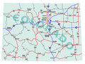 Colorado State Interstate Map Stock Photography