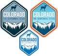 Colorado vector label with bighorn sheep and mountains