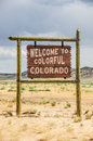 Colorado welcome sign brown and white to travelers to colorful Royalty Free Stock Photography
