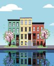 Colored apartment buildings on lake. Facades of buildings are reflected in mirror surface of water. Flat cartoon vector