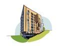 Colored architectural sketch vector.