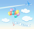 Colored balloons flying, clouds, Airplane.
