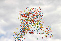 Colored balloons on sky to background Royalty Free Stock Photos