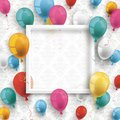 Colored Balloons White Frame Ornaments Wallpaper Royalty Free Stock Photo