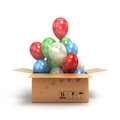 Colored balls fly out of the box Royalty Free Stock Photo