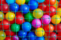 The colored balls in the grid