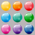 Colored balls set of glossy on grey background Royalty Free Stock Photos