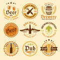 Colored Beer Emblem Set Royalty Free Stock Photo