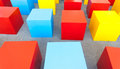 Colored block cubes as chairs toy Stock Image