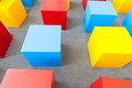 Colored block cubes as chairs toy Stock Photo