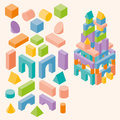 Colored building blocks for children Royalty Free Stock Photo
