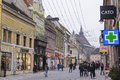 Colored buildings on republicii street in brasov romania Royalty Free Stock Photo