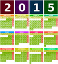Colored calendar in flat design with simple square icons months from january to december using green background elements are Stock Photo